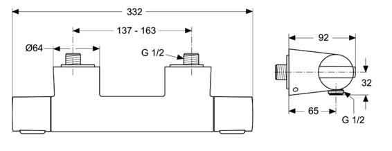 IDEAL STANDARD Ceratherm 200 pour douche détail technique dimension et raccordement