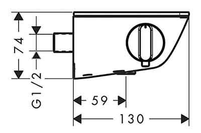 Dessin technique avec vue de coté Ecostat Select dimension