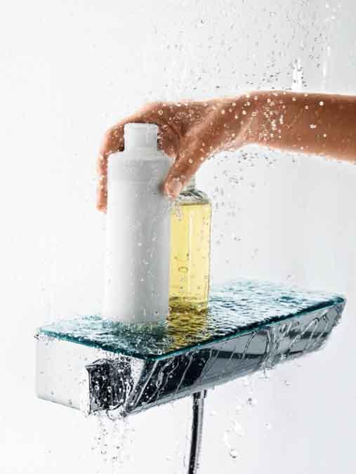 L'intéret de la tablette sur l'Ecostat Select, c'est de pouvoir poser les produits de douche