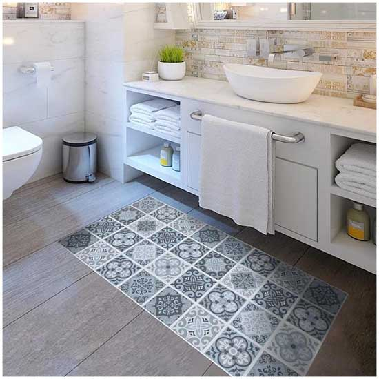 Exemple de stickers en pvc pour du carrelage au sol de votre salle de bain