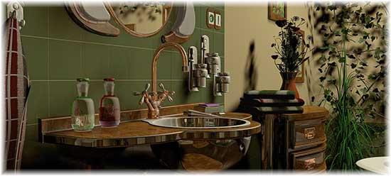 Exemple d'une décoration vintage d'une salle de bain avec des mitigeurs anciens